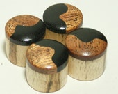 Set of 4 Spalted Maple Guitar Knobs with Gabon Ebony and Mahogany Cap (13/16 dia x 11/16h)