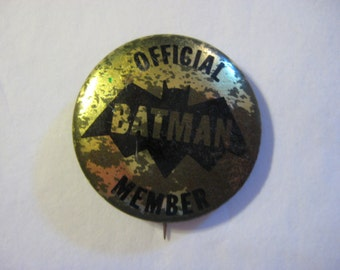 Batman Official Member Pin Back Button, 1966 Batman Official Member Pin, Batman Membership Pin, Batman 1966 Membership Button, Batman Member