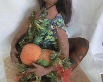Handmade Vintage Hawaiian Hula Gal Sitting on her Tatame Matt