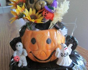 Cat and Pumpkin Halloween Arrangement
