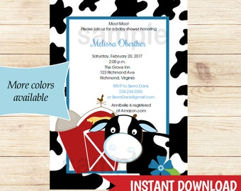 Blue Cow Boy Baby Shower Invitations | Boy Dairy Cow Shower | Farm Editable Text INSTANT DOWNLOAD bs-018