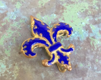 Antique Blue Enamel Fleur de Lis Watch Pin Brooch