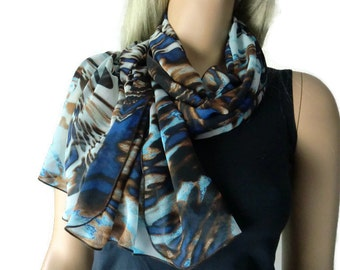 Water and Earth  Long chiffon scarf- Gorgeous colors and print- Parisian Neck Tissu