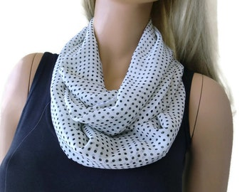 Polka Dot Chiffon infinity scarf-White with black polka dots-Little breezy pop of color- Instant gratification