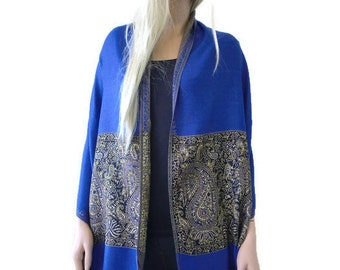 Royal blue and gold shawl- Neck and Shoulder scarf  woman shawl wrap -Pure Sophistication.
