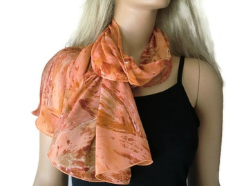 Dark salmon long chiffon scarf -Parisian Neck Tissu