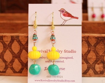 50% off Fall Fun Earrings - Yellow and Turquoise - Bright Colors