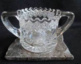 Pressed Glass Sugar Bowl Saw Tooth Edge Heavy Glass brilliant glass