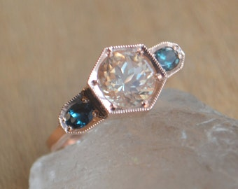 Three Stone Hexagon Ring in 14 Kt Rose Gold with Oregon Sunstone and Color Change Garnet