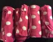 Slumber party pack!  Hot pink polka dot fleece blanket monogrammed set of four