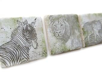 Safari Decor Set of 4 Coasters, Green and Tan Tile Coaster Set, Lion and Elephant Coasters, Drink Coasters, Safari Animal Coasters