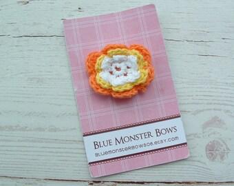 ONE DOLLAR CLIP Orange Yellow and White Crochet Flower Baby Snap Clip No Slip