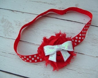Baby Headband Red Shabby Chic Chiffon Flower with White Sequin Bow and Stretchy Headband