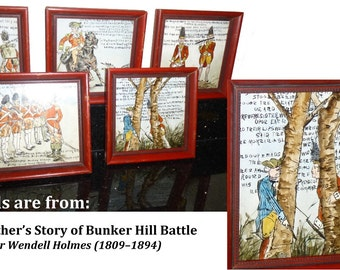 Vintage Outsider Art. 5 Framed Hand-painted Tiles with Images of Battle of Bunker Hill. USA Rev War Verses by O. W. Holmes. Tiles Signed.