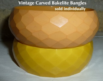 Carved Faceted Bakelite Wide Bangles Sold Individually. Lemon Diamond Pattern; Peach Snakeskin Pattern. Tested & Guaranteed. Vintage 1940s