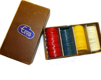 Box of 97 Poker Chips. Vintage German ECCO Brand. Red, Blue, Yellow White. NOT Bakelite, Another Early Plastic. One Inch in Diameter. 1950s.