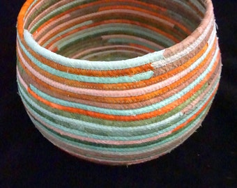 Hand-Dyed Fabric Basket in Green, Rust, Peach, Orange and Brown