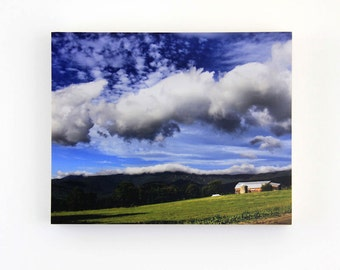 Rustic Vermont Barn, Sky and Clouds, Landscape Photography, Mountains, 8X10 Wood Panel,  Wall Decor, Wall Hanging, Ready to Frame