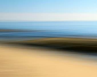 Abstract Seascape, Brown and Blue, Beach Decor, Modern Art, Ocean Photography, 8X10 Mat, Ready to Frame