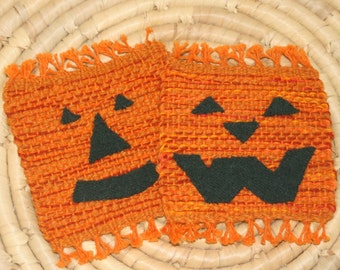 Pumpkin Coasters - Jack O Lantern Mug Rugs - Set of 2 Eco Friendly Handwoven Coasters - Handwoven Mug Rugs - Orange Coasters