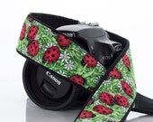 dSLR Camera Strap, Ladybug, Red, Green, SLR, Canon strap, Nikon Strap, 7 ecc