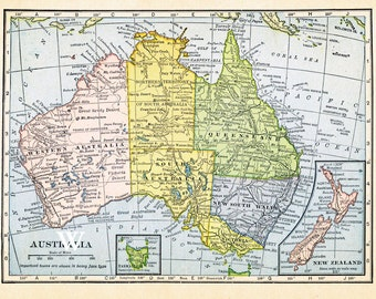 Australia and New Zealand map.  Antique vintage map of 1909  in pastel colors for instant printable download.  NSW Tasmania