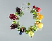 Fruit Bracelet, beaded bracelet w glass berries, lampwork glass beads, lobster clasp, adjustable length, art glass beaded bracelet