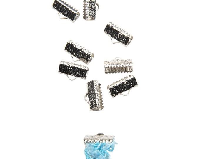 50 pieces  13mm  (1/2 inch)  Platinum Silver Ribbon Clamp End Crimps - Artisan Series