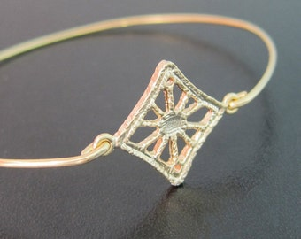 Filigree Bracelet, Gold Filigree Jewelry, Filigree Bangle Bracelet