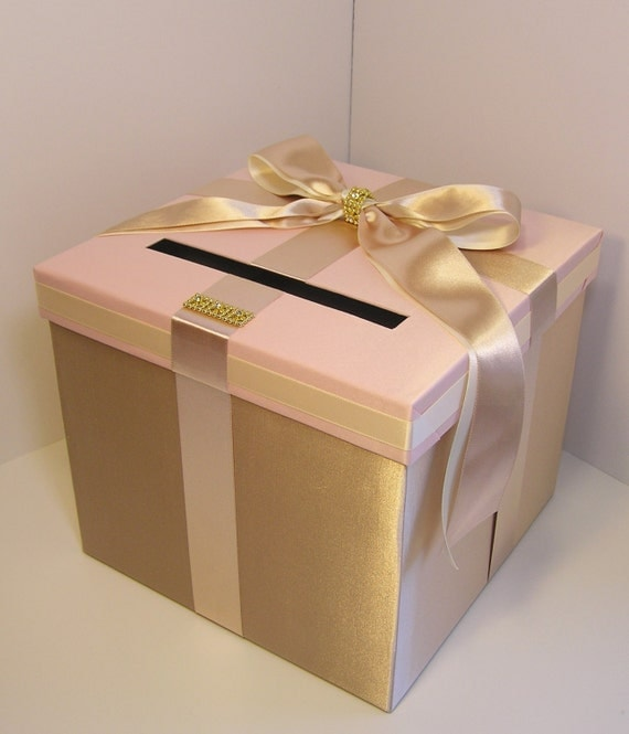 Wedding card box champagneblush pink and ivory by bwithustudio for How to decorate a money box