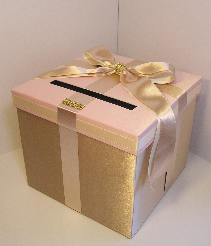 Wedding Card Box: Wedding Card Box ChampagneBlush Pink And Ivory Gift Card Box