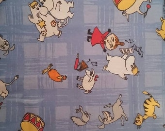 Moomin fabric Music Little my blue background play quitar drums moomintroll