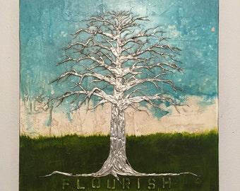 Silver Tree of Life Flourish Tree Sculpture