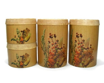 Vintage Set of 4 Metal Canisters by Cheinco