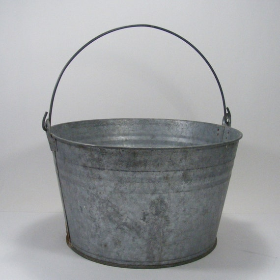 large galvanized farm bucket fruit picking pail