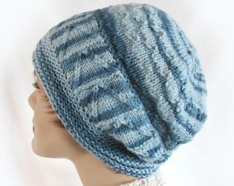 Woman's Winter Hat Denim Blue Knit Winter Hat Warm Winter Hat Winter Fashion Accessories Denim Blue Knit Women's Knit Hat Girl's Knit Hat