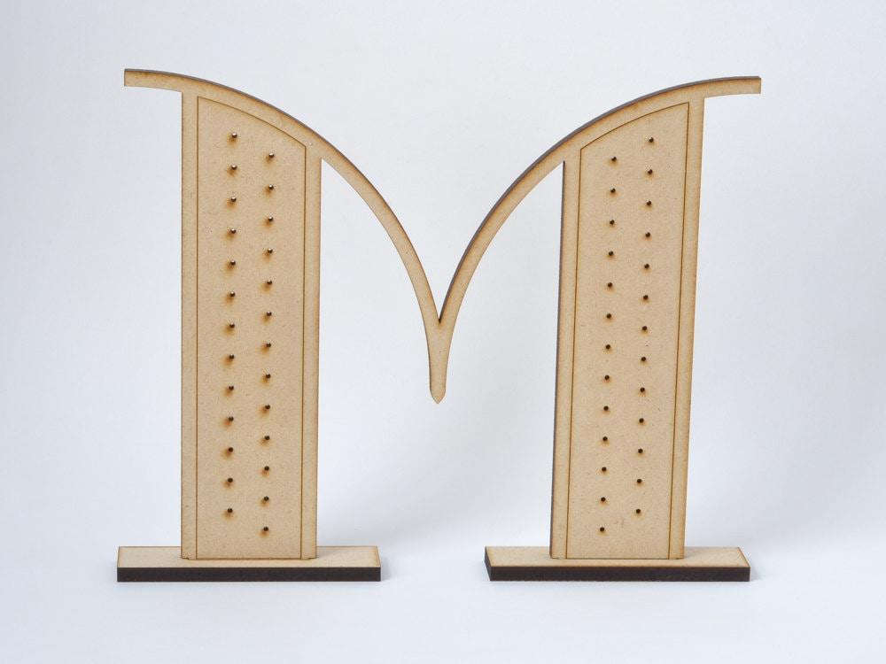 Monogram Letter Earring Holder Art Deco Jewelry Display Laser