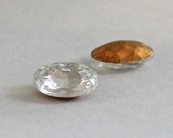 2 Vintage Oval Rhinestones, 18mm x 13mm Crystal Clear Rhinestones, Loose Rhinestones, Gold Foiled Backs