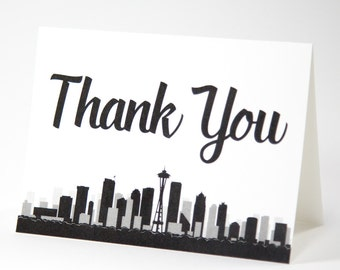 Seattle Thank You Card Skyline City Washington Wedding Event A6 Folded Customizeable