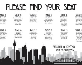 Sydney Seating Chart Digital Design Printable PDF Custom Personal Poster Print File ONLY Seating Plan Australia