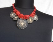 Vintage Necklace 80s, red beaded necklace
