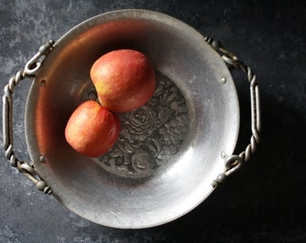 Hand Wrought Aluminum Bowl with Twisted Designed Handles and Beading Detail