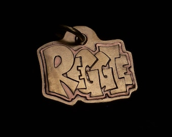 Reggie style brass and copper pet tag