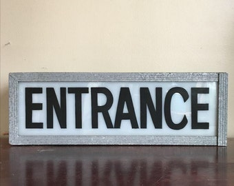 Industrial Entrance Sign with Light. Exterior Lighting