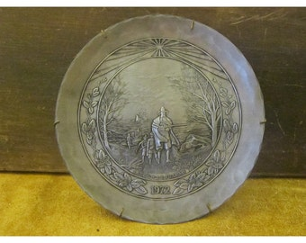 Landing of the Pilgrims Pewter Plate - Great Moments in History Series - 1972 Plate - Wendell August Forge Vintage Pewter Collector Plate