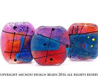Modern Art // 3 free shaped lampwork beads // Modern Glass Art // rose/pink, red/orange, purple/turquoise