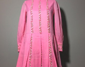 Vintage 60's Pink Pleated Drop Waist Mini Dress Floral Embroidery Applique XS