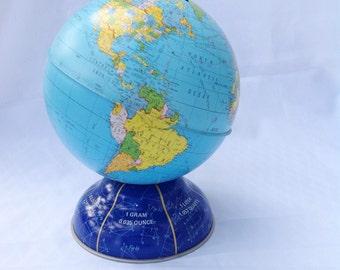 "Vintage metal globe bank.  Approx. 7"" tall."