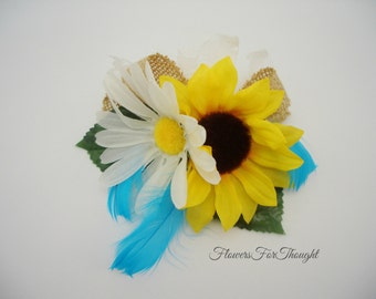 Sunflower Daisy Corsage with Burlap, Wedding Guest Flowers, Rustic Bridesmaid Decoration
