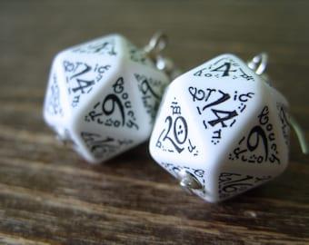 D20 earrings dark elf runes elvish dice black white fantasy inscriptions geek rpg dice jewelry  dungeons and dragons